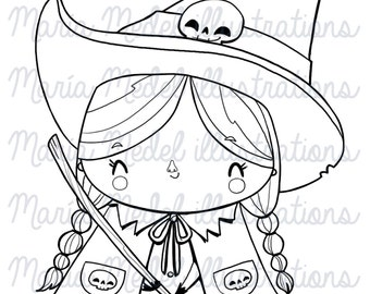 LITTLE WITCH- DIGITAL stamp.  Instant download, personal use