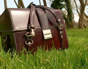 REDUCED Vintage Deep Rouge Leather Camera Kit Case - Lots Of Room For All Your Needs
