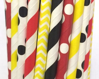 2.85 US Shipping - Mr. Mouse inspired paper straws - Mickey Mouse straws - cake pop sticks - drinking straws