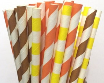 Fall Paper Straws - Set of 25 - Thanksgiving Paper Straws - Cake Pop Sticks - Drinking Straws