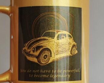 Beetle cup, beetle mug, legendary car, gold mug, retro car