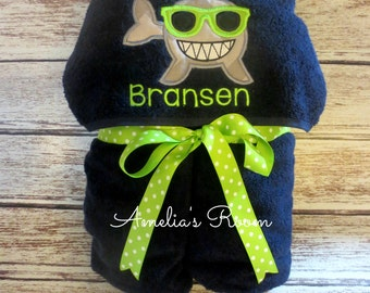 Personalized Shark with Sunglasses Hooded Towel, Boys Towel, Shark, Beach Towel, Bath Towel Embroidered, Monogrammed, Personalized