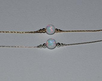 OPAL BRACELET // Dot Bracelet Opal - Opal Ball Bracelet - Single Bead Bracelet - White Opal Bead Bracelet - Opal Charm Bracelet