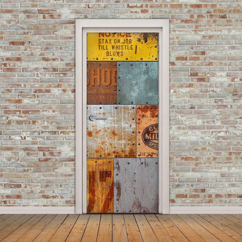 Vintage Rusty Old Metal Door Decal Self Adhesive Vinyl Sticker