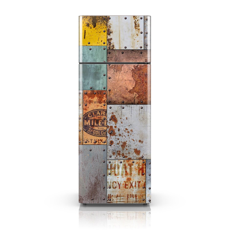 Fridge Stickers Self Adhesive Vinyl Fridge Decal Vintage Rusty Steel Plate