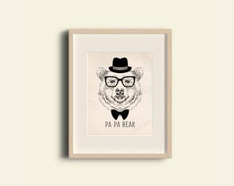 PA PA BEAR Wall Art ,Printable Art, Inspirational Quote,Digital Prints,Wall Art Prints, Digital Download