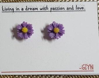 GIYN Cute Purple Flower Style Fashion Stud Earrings