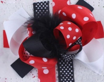 Big black,red and white bow with feathers