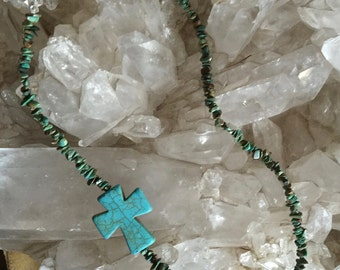 Blue and Green Turquoise Cross Necklace