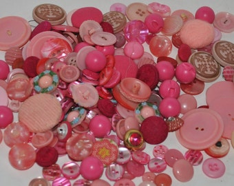 Vintage buttons, lots of texture, print, and sizes - you pick the color!
