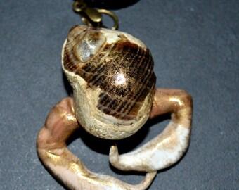 Beach Boho Hermit Crab Shell Mermaid Necklace