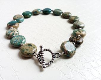 Bracelet 'Florentine' - Aqua terra jasper gemstones and silver - Boho chic, bohemian, statement bracelet, gift for her - Handmade jewelry