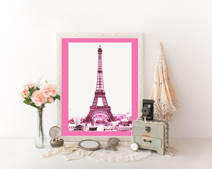 PINK EIFFEL TOWER Digital Print Hot Pink Paris Art Print Pink Tinted Photograph Eiffel Tower Digital Print Diy Paris French Poster Printable