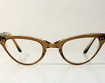 1950's Frame France Clear Maple Sand Cateye Eyeglasses Frames, New Old Stock, Glasses Frames, Frame France Maple & Clear Cat Eye Eyeglasses