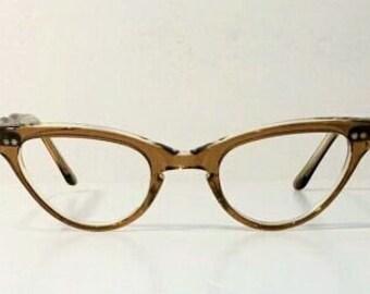 Vintage 1950's Frame France Clear Maple Sand Cat Eye Eyeglasses Frames, New Old Stock, Glasses Frames, Frame France Maple & Clear Cateyes