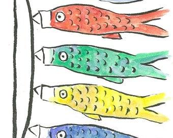 Koinobori (Carp Streamers) Original Watercolor & Ink Painting