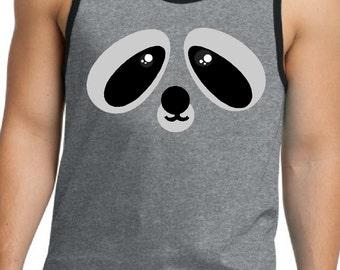 Men's Raccoon tank top, Guy's funny Raccoon face shirt