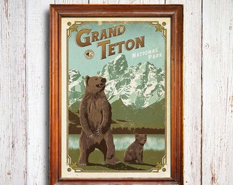 Grand Teton Poster, Grand Teton National Park print, Wyoming Poster, Grizzly Poster, national park quest poster, Grizzly cub poster
