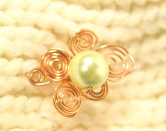 Small Swirly Copper Sweater Pin With Singular Bead