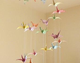 Mobile baby Origami, flight of cranes Pastel Pop, Triple spiral