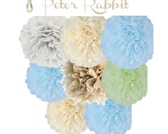 PETER RABBIT Tissue Paper Pom Pom Decorations - Set of 8 Tissue Poms - Sky Blue, Cream, Celery, Dove Gray - Birthday Party, Baby Shower