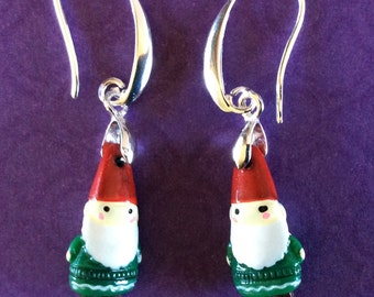 Gnome earrings. Whimsical earrings. Beaded gnome statue.  Leprechaun earrings. Elf earrings. Pixie earrings. Sprite earrings. Santa earrings
