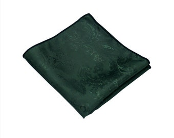 Dark Green Paisley Pocket Square.Wedding Pocket Square.Silk handkerchief