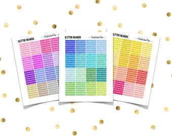 GLITTER HEADERS // Printable Planner Stickers / Erin Condren Plum Paper Happy Planner Filofax Inkwell Press Multicolor