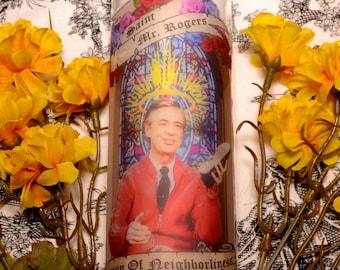Mr Rogers Celebrity Prayer Pillar Candle Veladora