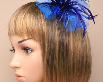 Blue Fascinator. Flower Feather Beaded Fascinator, Head Piece, Mother of the Bride, Christening