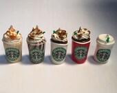 Starbucks Polymer Clay Earrings.  Coffee Earrings Coffee Dangle Earrings