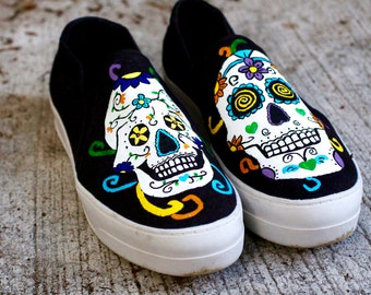 Sugar Skull Custom Canvas Shoes / Hand Painted / Day of the Dead / Gifts for Her / Skulls / Skeletons / Skeleton / Colorful / Handmade /Cute