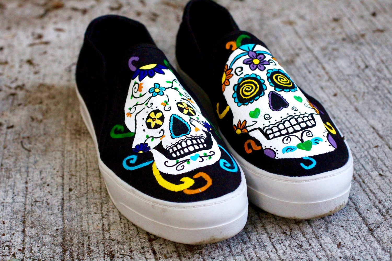 Sugar Skull Custom Canvas Shoes / Hand Painted / Day of the
