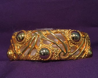 Castlecliff Oval Gold-tone Spring-hinge Bracelet with Silver Accents - CA 1950's