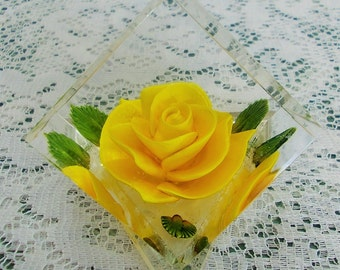 Yellow rose lucite hexagonal paperweight reverse carved and painted by Bircraft USA
