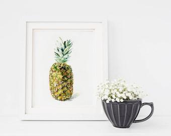 5x7 Pineapple Print of Original Pineapple Watercolor Fine Art Fruit Painting, Home Decor, Wall Art, Gift Ideas, Kitchen art