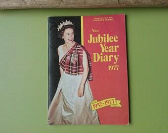 Queen's Jubilee year diary 1977 , vintage diary , royal memorabilia , jubilee diary
