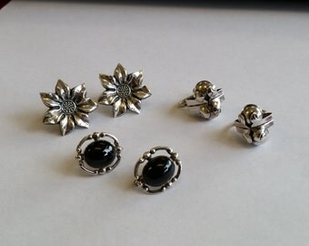 Set of 3 Pairs of Vintage Screw Clip on Earrings all Sterling Silver