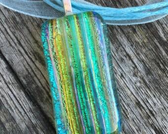 Sparkling stripy glass pendant #039