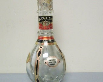 Vintage Jacquins Liquor Four Chamber Glass Bottle Decanter with Four Plastic Stoppers Made in France