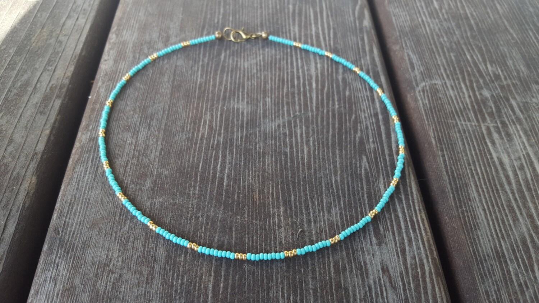 turquoise gold beaded choker blue seed bead choker minimal