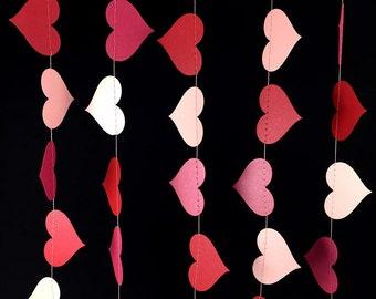 Valentine's Garland: Blush Pink, Dark Pink and Red Heart Garland, Valentine's Day Decorations, Romantic Valentine Decor - GH047BpkRoseRed