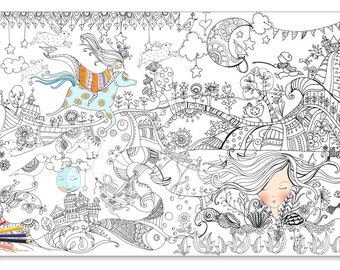 Giant Coloring Poster Page For Huge Illustrated