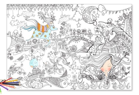 Giant Coloring Poster Page For Huge Illustrated To Be Colored Large