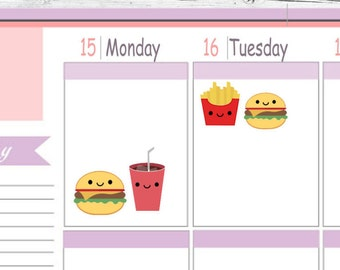 Itty Bitty or ECLP Size Fast Food Planner Stickers To Use With Erin Condren Planner