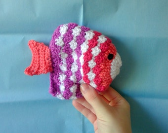 New White Pink Purple Shrimp Peach Crocheted Fish Cat Toy Catnip Pouch Toy Knitted Cat Toy Catnip Toy Pet Toy Knitted Fish Pet Accessory