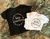 Big Brother Shirt | Little Brother Onesie® | Big Sister and Little Sister Matching Arrow Border