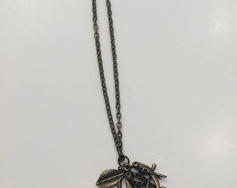 bronze leaf and birds 22' necklace