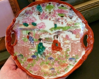CHINOISERIE GEISHA DISH Vintage 1920s Geishaware Trinket Dish Made in Japan Porcelain Double Handle Tray
