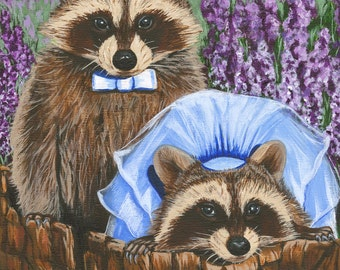 Giclee Print Signed Artwork, Raccoon Love, Bride & Groom, Wedding, Wildlife and Animal Art, Large Colorful Wall Art and Gift